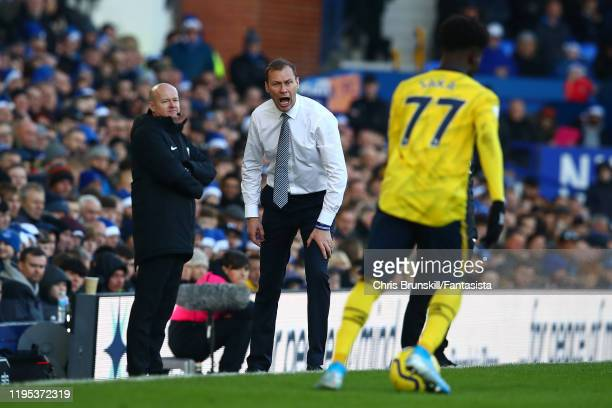 Everton manager Duncan Ferguson gestures from the touchline during the Premier League match between Everton FC and Arsenal FC at Goodison Park on...