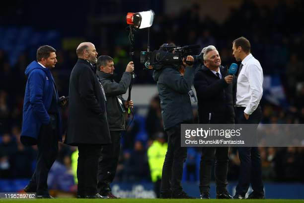 Everton manager Duncan Ferguson is interviewed on the pitch following the Premier League match between Everton FC and Arsenal FC at Goodison Park on...