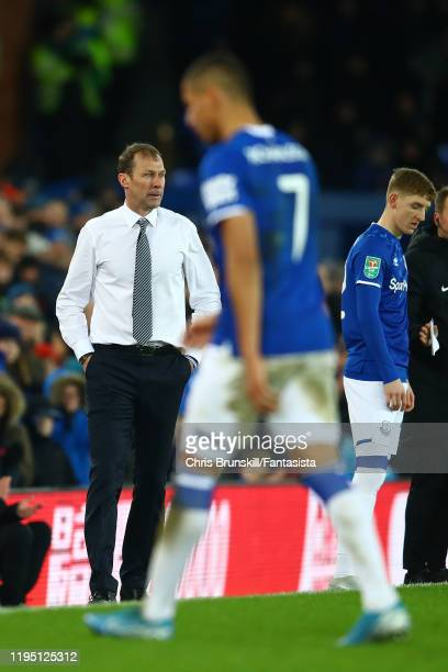 Everton manager Duncan Ferguson looks on as Richarlison leaves the field during the Carabao Cup Quarter Final match between Everton FC and Leicester...