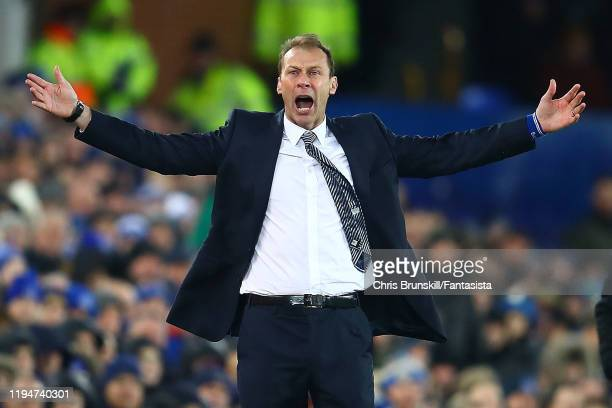 Everton manager Duncan Ferguson reacts during the Carabao Cup Quarter Final match between Everton FC and Leicester FC at Goodison Park on December 18...
