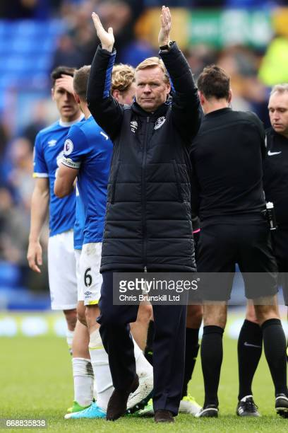 Everton Manager / Head Coach Ronald Koeman applauds the fans at the end of the Premier League match between Everton and Burnley at Goodison Park on...