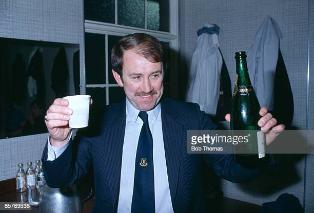 Everton manager Howard Kendall celebrates in the dressing-room after his team had beaten Aston Villa 2-1 on aggregate in the League Cup Semi-Final...