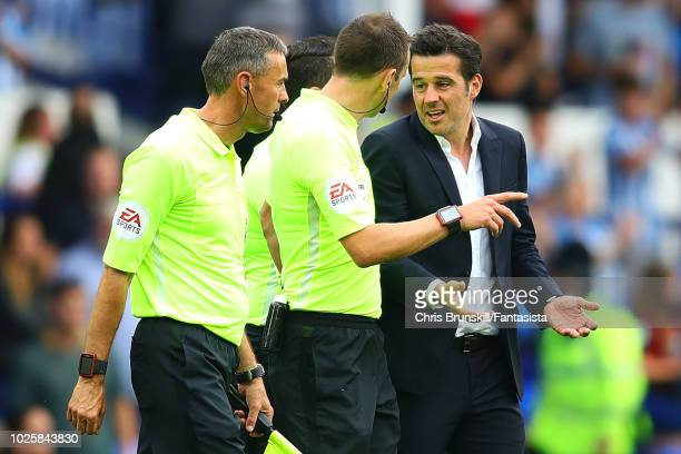 Everton manager Marco Silva complains to referee Stuart Attwell at fulltime following the Premier League match between Everton FC and Huddersfield...