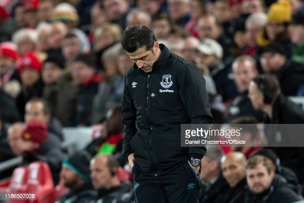 Everton Manager Marco Silva looks dejected during the Premier League match between Liverpool FC and Everton FC at Anfield on December 4, 2019 in...