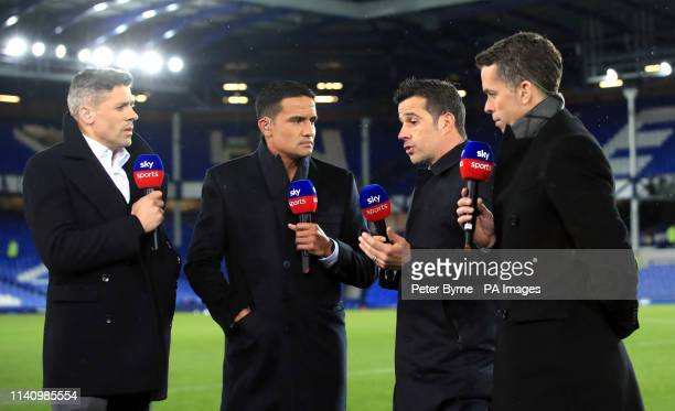 Everton manager Marco Silva speaks to Sky Sports presenter David Jones and pundits Tim Cahill and Jon Walters after the Premier League match at...