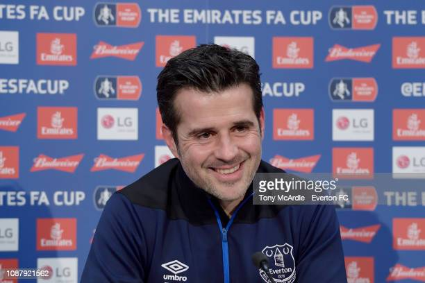 Everton manager Marco Silva speaks to the media during the Everton press conference at USM Finch Farm on January 24, 2019 in Halewood, England.