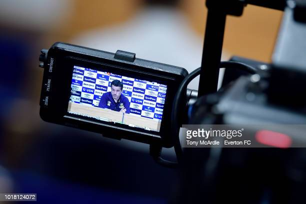 Everton manager Marco Silva speaks to the press during the Everton press conference at USM Finch Farm on August 17 2018 in Halewood England