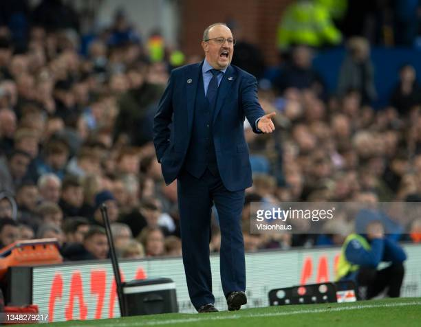 Everton manager Rafael Benítez during the Premier League match between Everton and Watford at Goodison Park on October 23, 2021 in Liverpool, England.