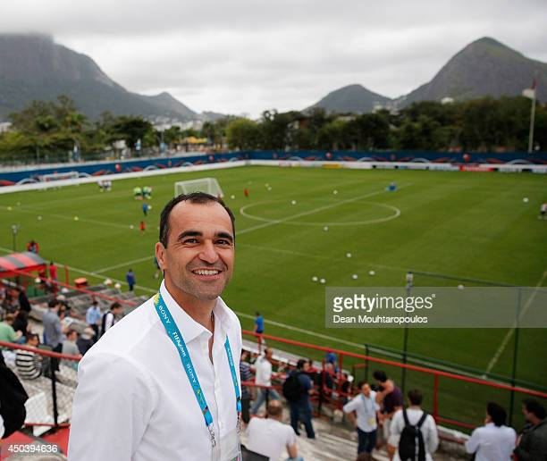 Everton Manager Roberto Martinez poses during the Netherlands training session at the 2014 FIFA World Cup Brazil held at the Estadio Jose Bastos...