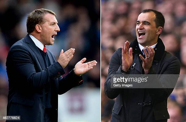 Everton Manager Roberto Martinez reacts during the Barclays Premier League match between Everton and Arsenal at Goodison Park on April 6, 2014 in...