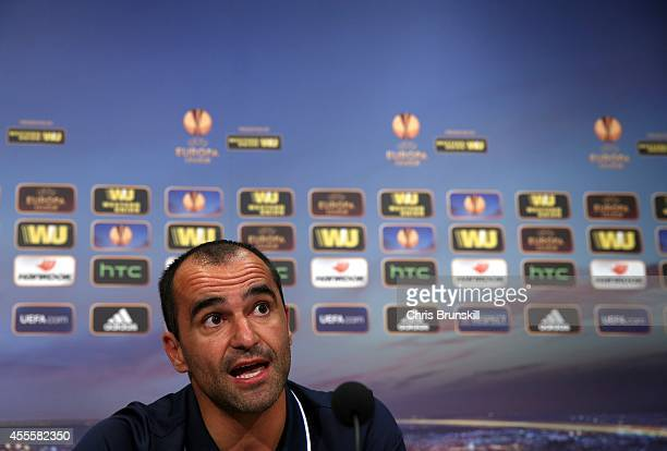 Everton manager Roberto Martinez speaks to the media during a press conference at Finch Farm on September 17, 2014 in Liverpool, England.