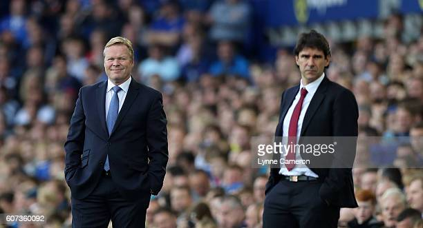 Everton manager Ronald Koeman and Middlesbrough manager Aitor Karanka during the Premier League match between Everton and Middlesbrough at Goodison...