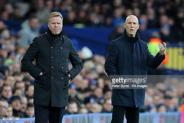 Everton manager Ronald Koeman and Swansea City manager Bob Bradley on the touchline during the Premier League match at Goodison Park Liverpool