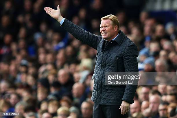 Everton manager Ronald Koeman gestures during the Premier League match between Everton and Arsenal at Goodison Park on October 22 2017 in Liverpool...