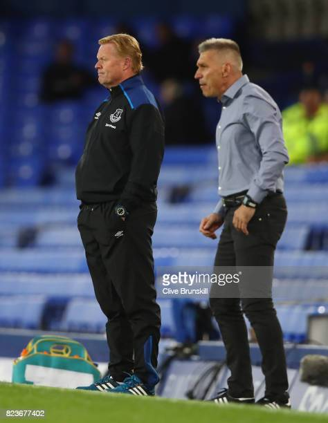 Everton manager Ronald Koeman looks on during the UEFA Europa League Third Qualifying Round First Leg match between Everton and MFK Ruzomberok at...
