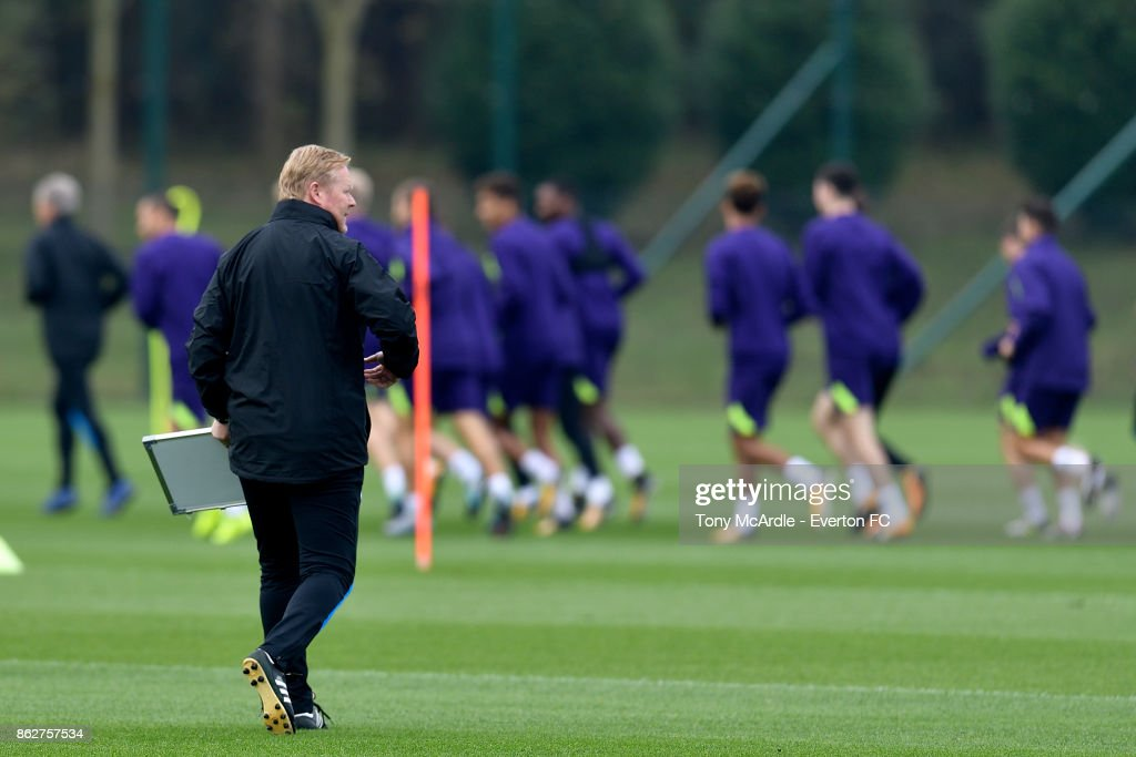 Everton manager, Ronald Koeman watches over his players during the Everton training session at USM Finch Farm on October 18, 2017 in Halewood, England.