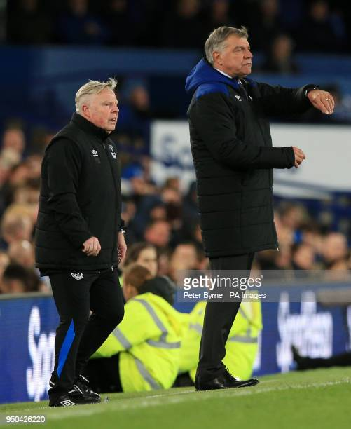 Everton manager Sam Allardyce and assistant manager Sammy Lee during the Premier League match at Goodison Park Liverpool