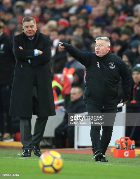 Everton manager Sam Allardyce and assistant Sammy Lee during the Premier League match at Anfield Liverpool