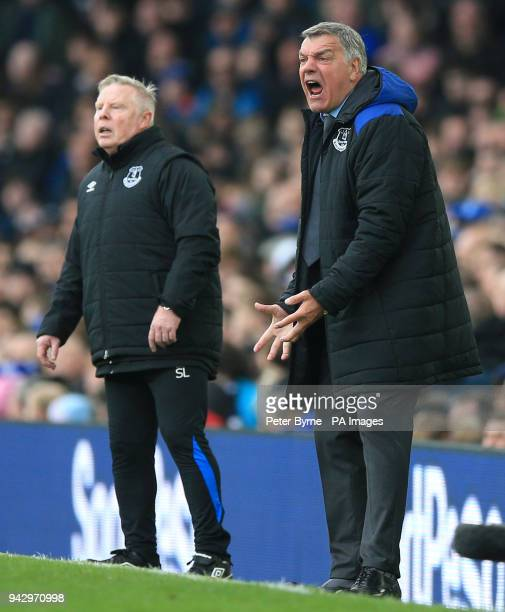 Everton manager Sam Allardyce and assistant Sammy Lee during the Premier League match at Goodison Park, Liverpool.