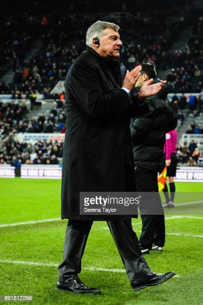 Everton Manager Sam Allardyce claps his hands as Everton win the Premier League Match between Newcastle United and Everton at StJames' Park on...