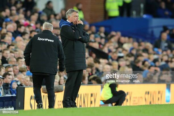 Everton manager Sam Allardyce during the Premier League match between Everton and Newcastle United at Goodison Park on April 23 2018 in Liverpool...