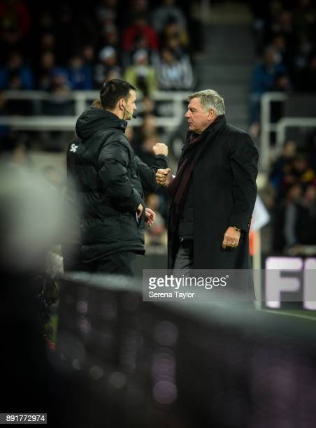 Everton Manager Sam Allardyce fist pumps the air as Wayne Rooney of Everton scores the opening goal during the Premier League Match between Newcastle...