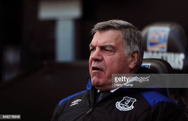 Everton manager Sam Allardyce looks on during the Premier League match between Swansea City and Everton at Liberty Stadium on April 14 2018 in...