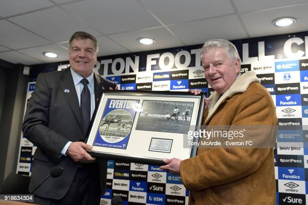 Everton manager Sam Allardyce presents John Motson a momento to commemorate his last game as commentator at Goodison Park after the Premier League...