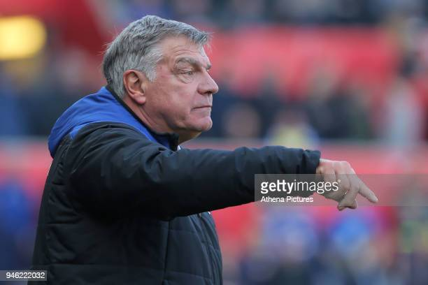 Everton manager Sam Allardyce shouts instructions to his players during the Premier League match between Swansea City and Everton at The Liberty...