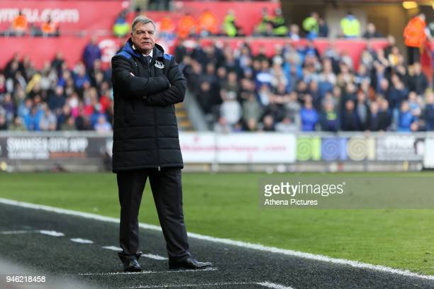 Everton manager Sam Allardyce stands on the touch line during the Premier League match between Swansea City and Everton at The Liberty Stadium on...