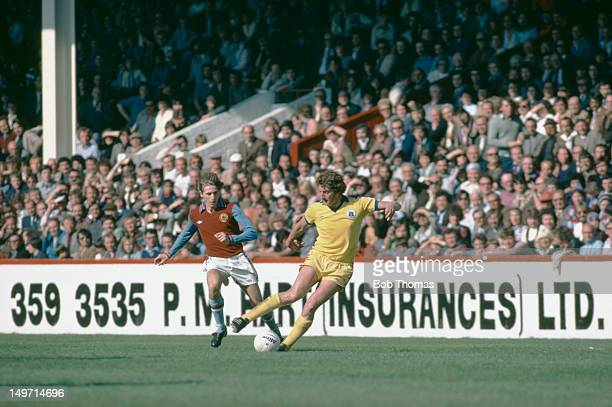 Everton midfielder Martin Dobson with Gordon Cowans of Aston Villa September 1978