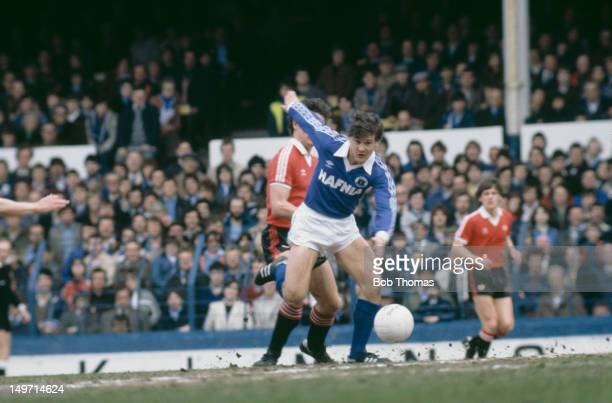 Everton midfielder Paul Lodge during a match against Manchester United at Goodison Park Liverpool circa 1982 Everton