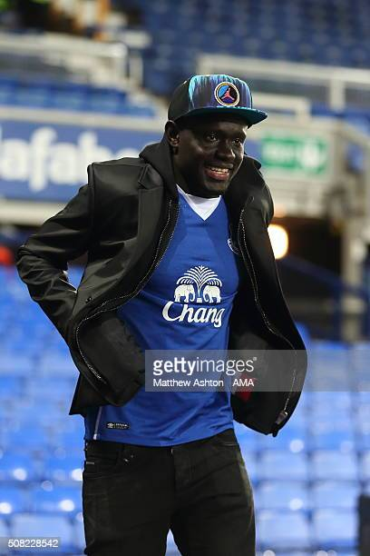 Everton new signing Senegal forward Oumar Niasse from Russian club Lokomotiv Moscow looks on after the Barclays Premier League match between Everton...