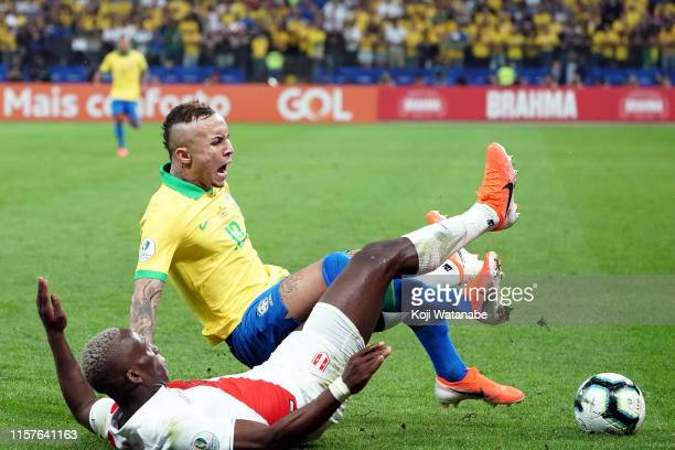 Everton of Brazil and Luis Advincula of Peru fights for the ball during the Copa America Brazil 2019 group A match between Peru and Brazil at Arena...