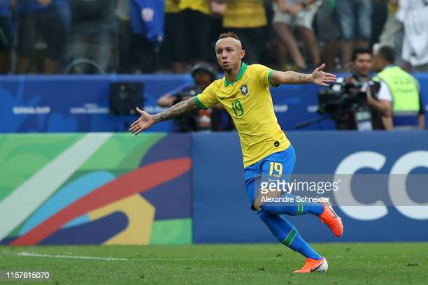 Everton of Brazil celebrates after scoring the third goal of his team during the Copa America Brazil 2019 group A match between Peru and Brazil at...