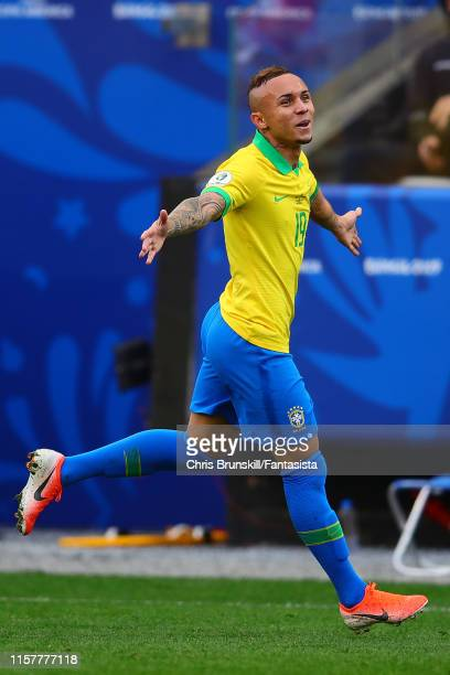 Everton of Brazil celebrates scoring his side's third goal during the Copa America Brazil 2019 group A match between Peru and Brazil at Arena...