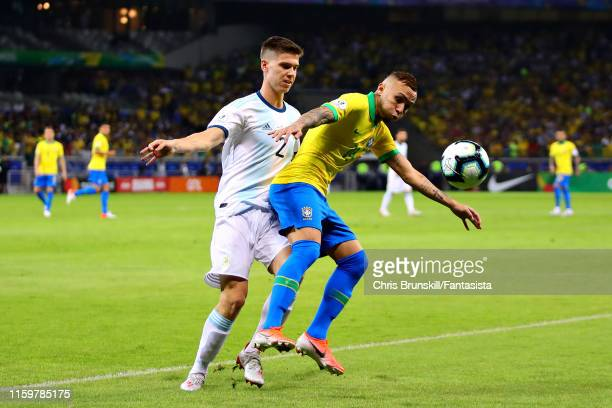 Everton of Brazil is challenged by Juan Foyth of Argentina during the Copa America Brazil 2019 Semi Final match between Brazil and Argentina at...