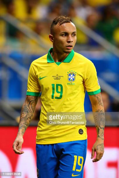 Everton of Brazil looks on during the Copa America Brazil 2019 group A match between Brazil and Venezuela at Arena Fonte Nova on June 18 2019 in...