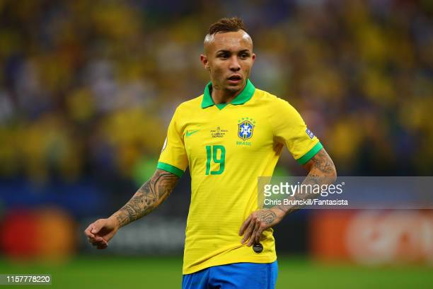 Everton of Brazil looks on during the Copa America Brazil 2019 group A match between Peru and Brazil at Arena Corinthians on June 22 2019 in Sao...