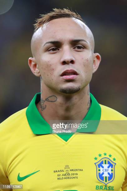 Everton of Brazil looks on prior to the Copa America Brazil 2019 Semi Final match between Brazil and Argentina at Mineirao Stadium on July 02 2019 in...