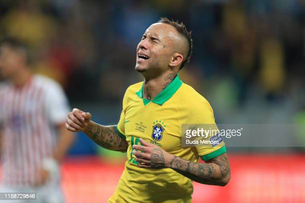 Everton of Brazil reacts during the Copa America Brazil 2019 quarterfinal match between Brazil and Paraguay at Arena do Gremio on June 27 2019 in...