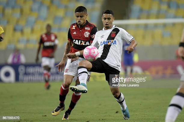 Everton of Flamengo battles for the ball with Yago Pikachu of Vasco da Gama during the match between Flamengo and Vasco da Gama as part of...