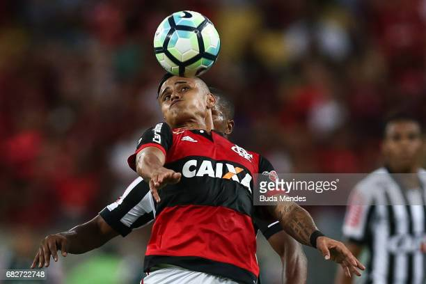 Everton of Flamengo struggles for the ball with Carlos Csar of Atletico MG during a match between Flamengo and Atletico MG part of Brasileirao Series...