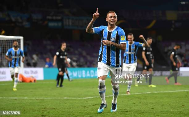 Everton of Gremio celebrates after scoring his sides first goal during the FIFA Club World Cup UAE 2017 semi-final match between Gremio FBPA and CF...