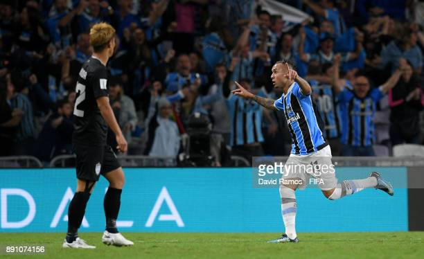 Everton of Gremio celebrates after scoring his sides first goal during the FIFA Club World Cup UAE 2017 semifinal match between Gremio FBPA and CF...