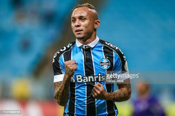 Everton of Gremio celebrates after scoring their second goal during the match between Gremio and Fluminense, as part of Brasileirao Series A 2019, at...