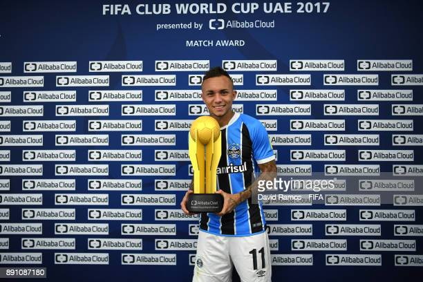 Everton of Gremio with his man of the match trophy after the FIFA Club World Cup UAE 2017 semifinal match between Gremio FBPA and CF Pachuca on...