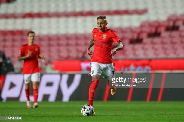 Everton of SL Benfica controls the ball during the Liga NOS match between SL Benfica and Belenenses SAD at Estadio da Luz on October 26 2020 in...