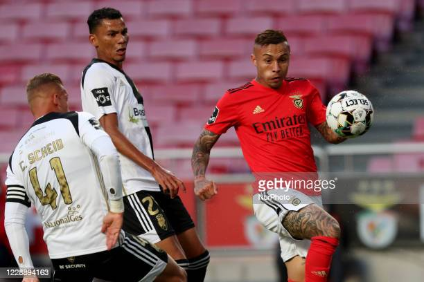 Everton of SL Benfica vies with Claudio Falcao of SC Farense and Cassio Scheid during the Portuguese League football match between SL Benfica and SC...