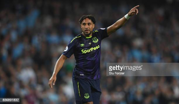 Everton player Ashley Williams in action during the Premier League match between Manchester City and Everton at Etihad Stadium on August 21 2017 in...